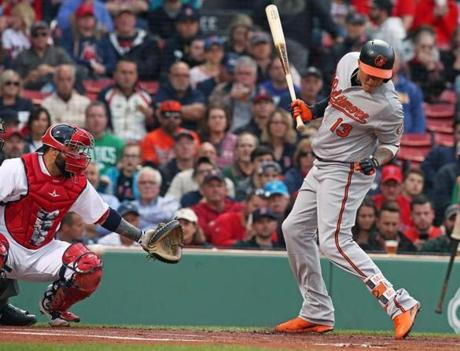 Manny Machado jumped out of the way of Chris Sale pitch that went behind him. That prompted a warning to both teams by the home plate umpire.